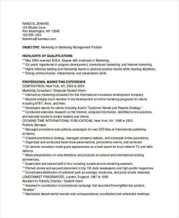 marketing graduate student resume1