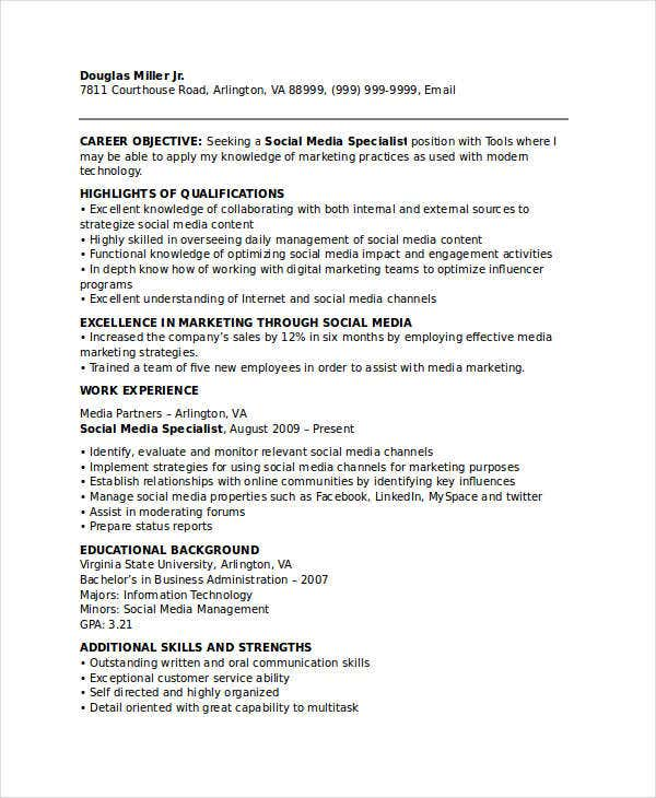 social media marketing specialist resume1