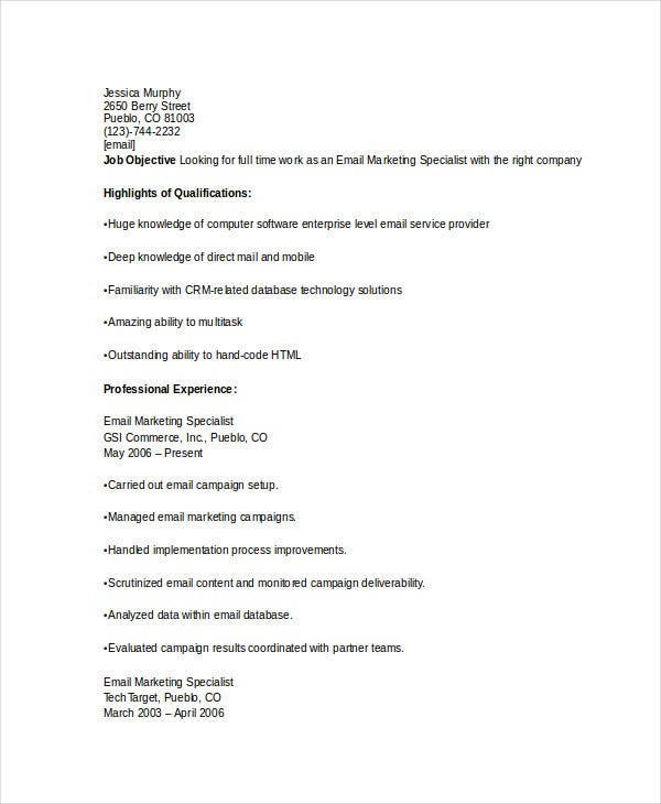 Marketing Resume Download 43 Free Word Pdf Documents