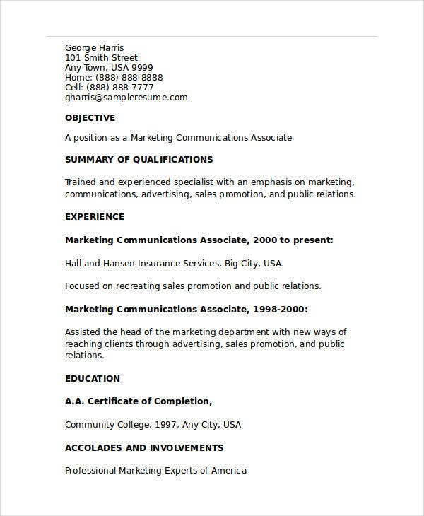 marketing communications associate resume1