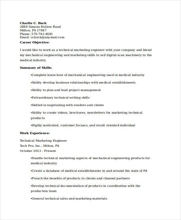technical marketing engineer resume1