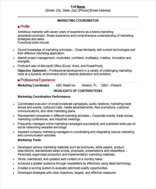 Marketing Coordinator Resume Samples Visualcv Resume Samples