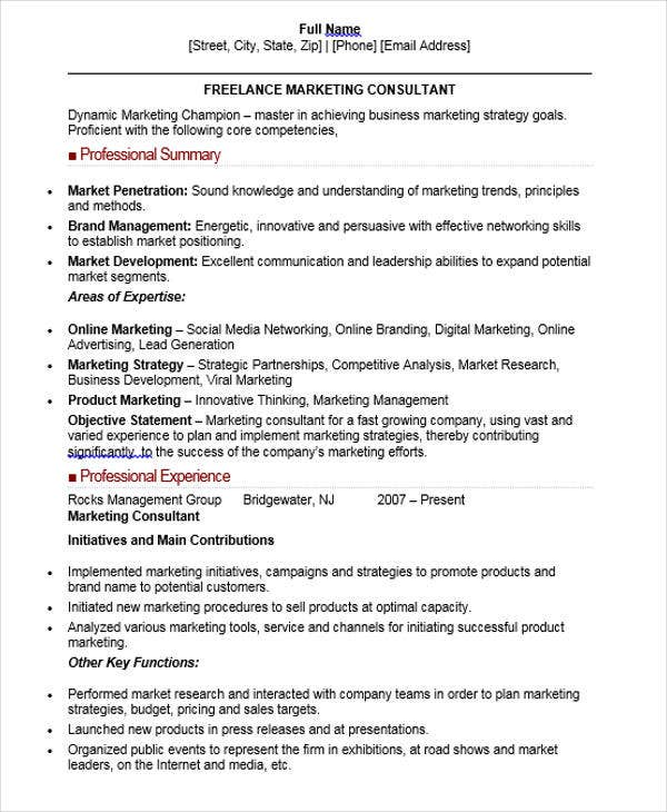freelance marketing consultant resume1