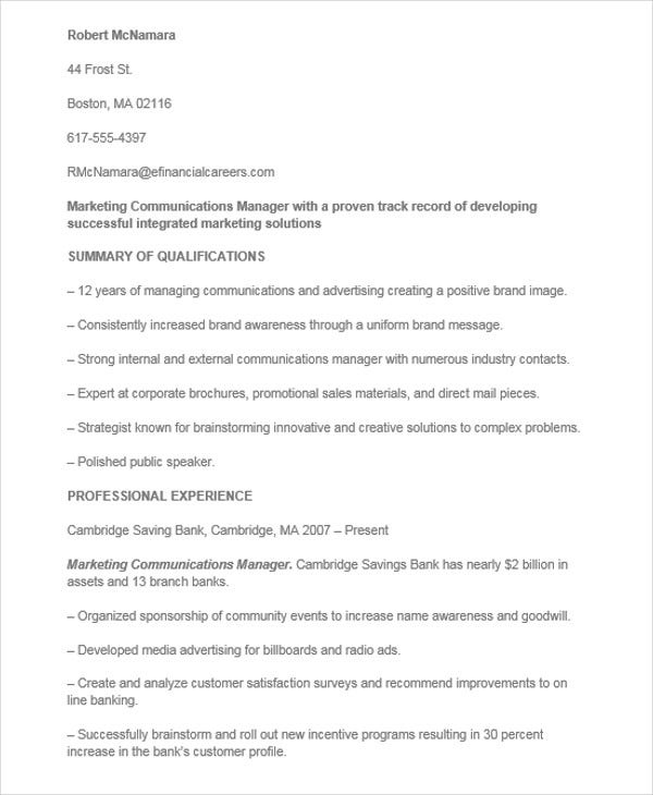 marketing communications manager resume3