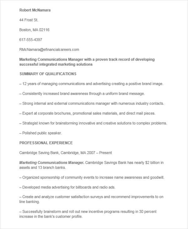Marketing Communication Manager Resume  Communications Manager Resume