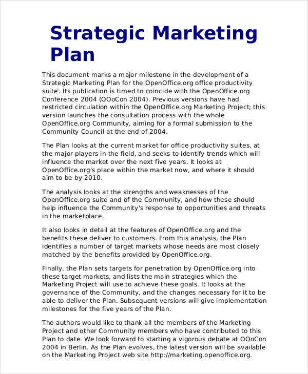 strategic marketing plan outline