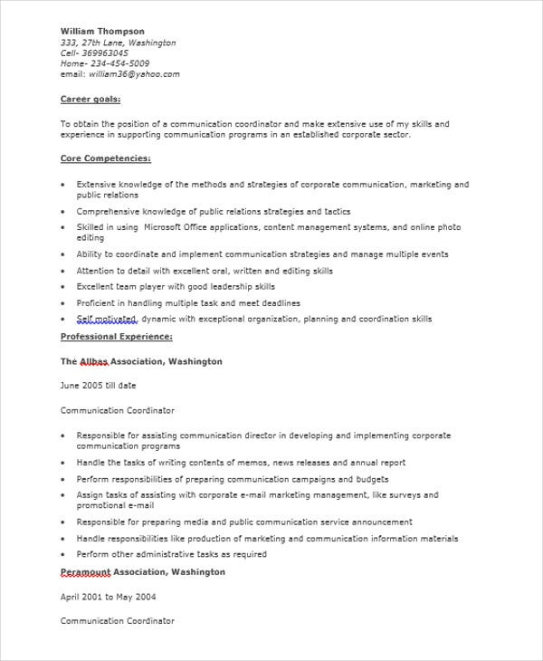 Marketing Communication Coordinator Resume  Communication On Resume