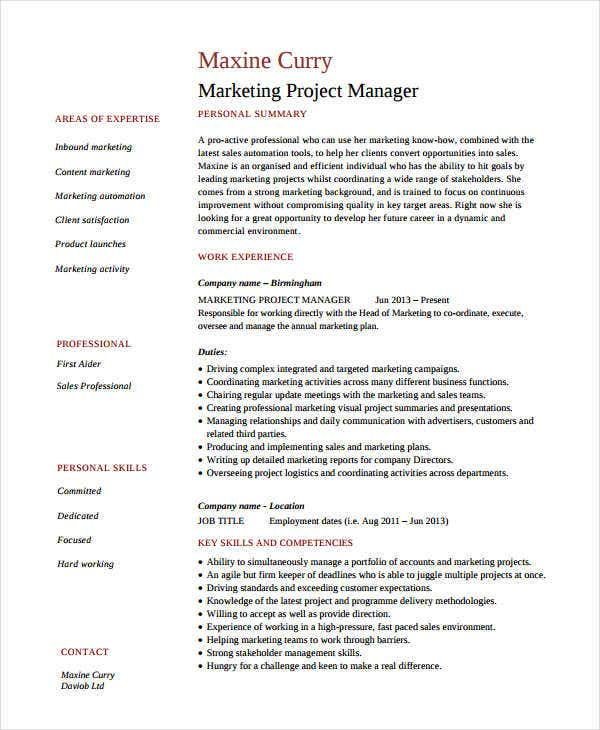 marketing project manager resume - Resume Sample For Marketing Manager