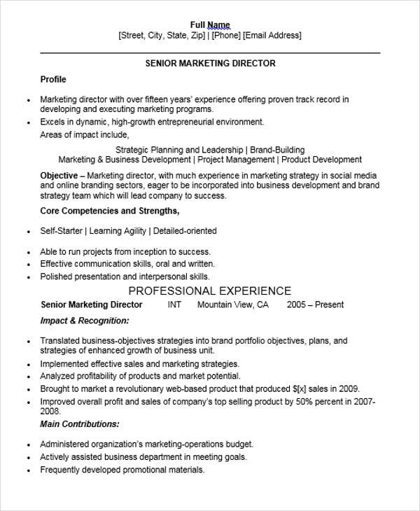 Senior Marketing Director Resume