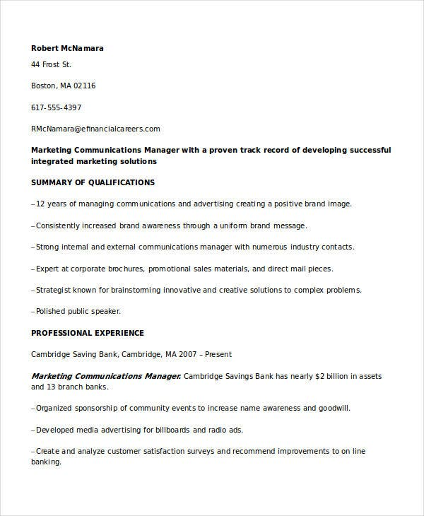 Resume Examples Marketing  Resume Format Download Pdf