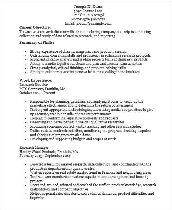 marketing research director resume1