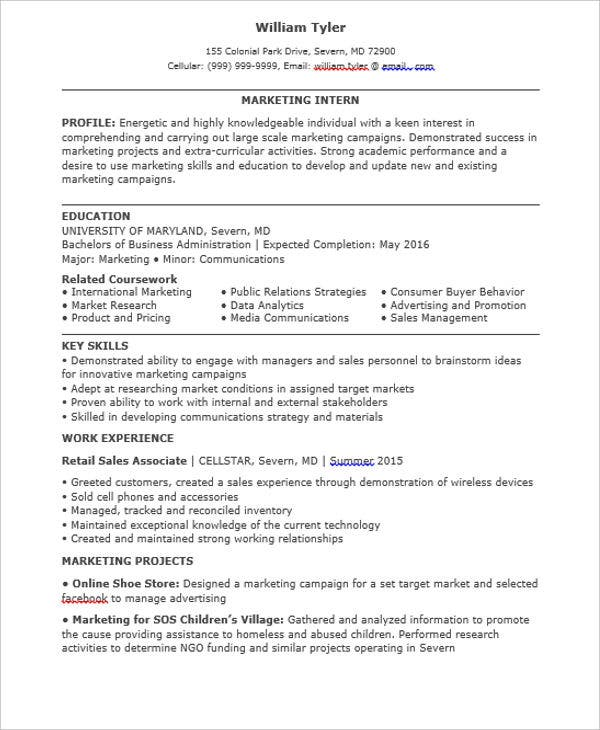 marketing student internship resume2