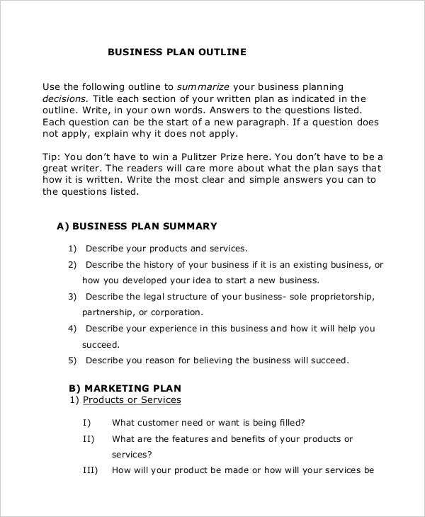strategic business plan outline