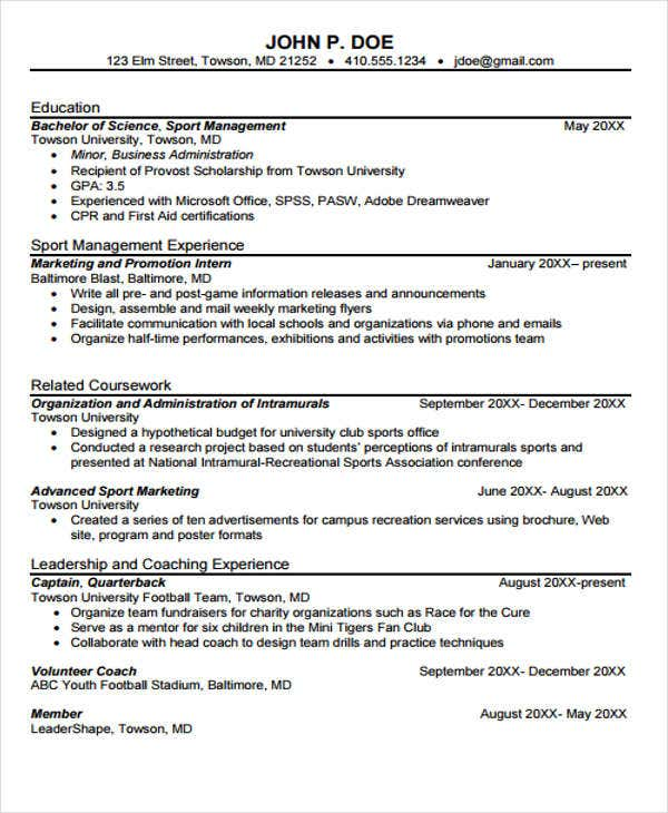 sports marketing internship resume