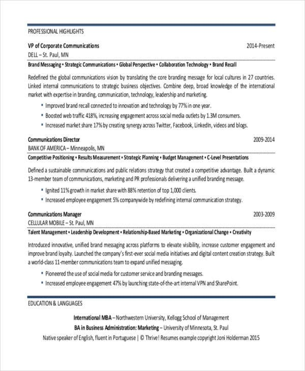 Best Marketing Resume Templates  Pdf Doc  Free  Premium