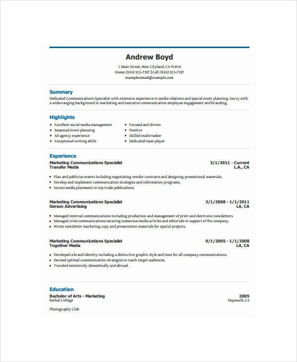 marketing communication executive resume4