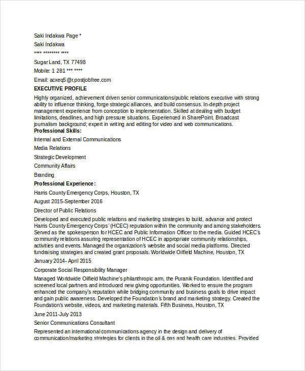 Marketing Communications Director Resume  Communications Director Resume