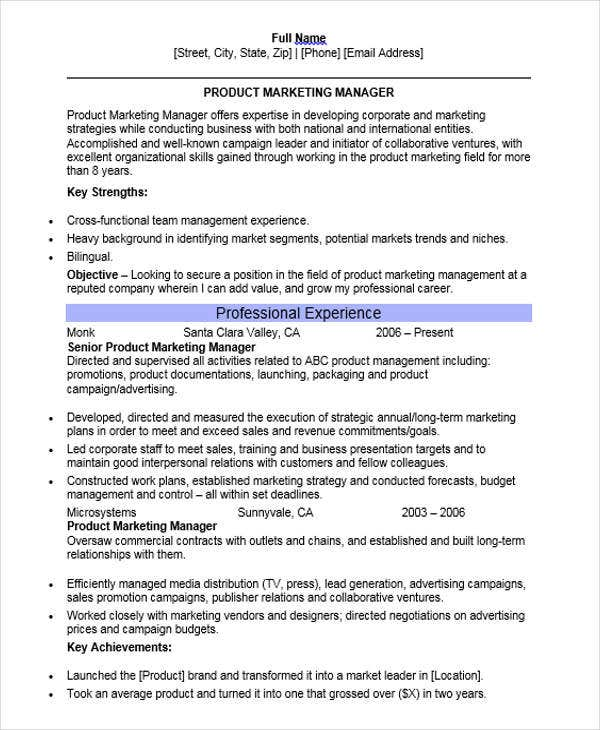 Product Marketing Manager Resume  Product Marketing Resume