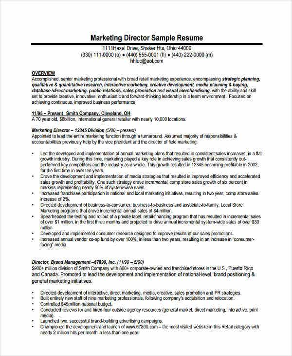 Senior Marketing Director Resume Sample