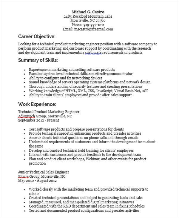 Product Marketing Engineer Resume  Product Marketing Resume