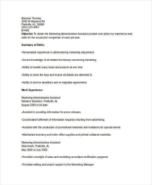 marketing administrative assistant resume3