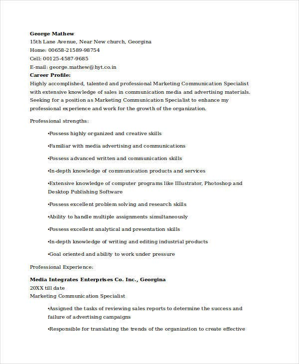 marketing communications specialist resume3