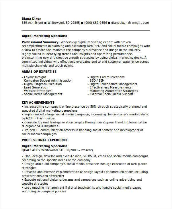digital marketing specialist resume2
