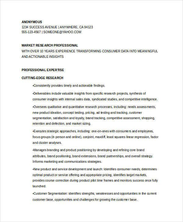 marketing research manager resume2