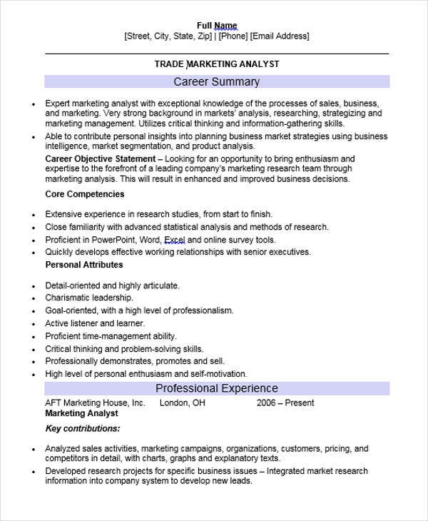 Professional Marketing Resume Templates  Pdf Doc  Free