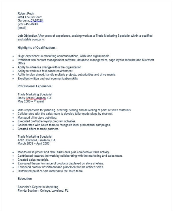 resume examples marketing assistant