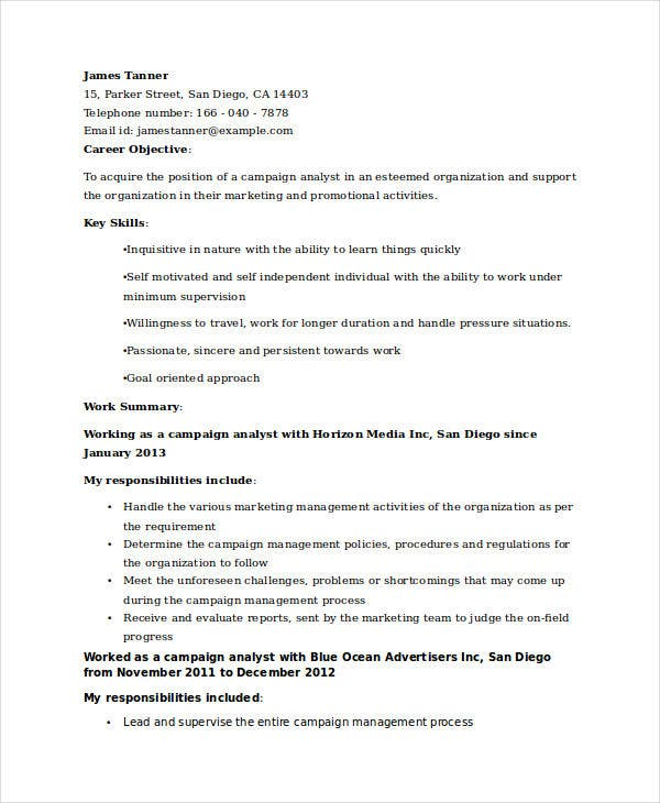 marketing campaign analyst resume3