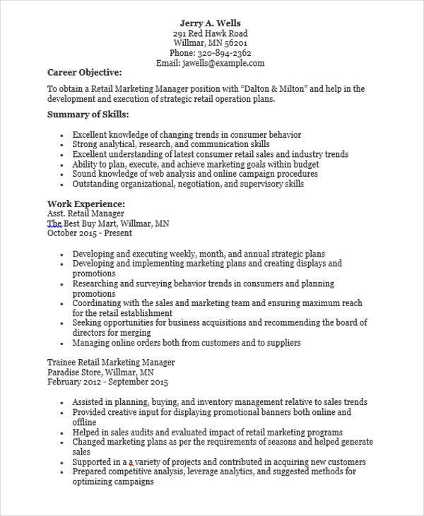 Delightful Retail Marketing Manager Resume Inside Retail Marketing Resume