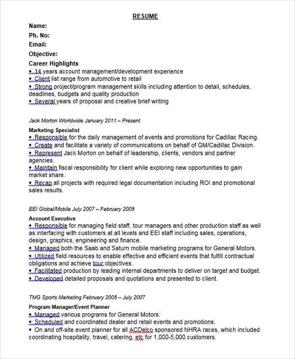 Retail Marketing Specialist Resume  Sports Marketing Resume