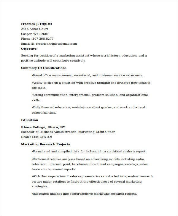 marketing graduate student resume - Marketing Student Resume