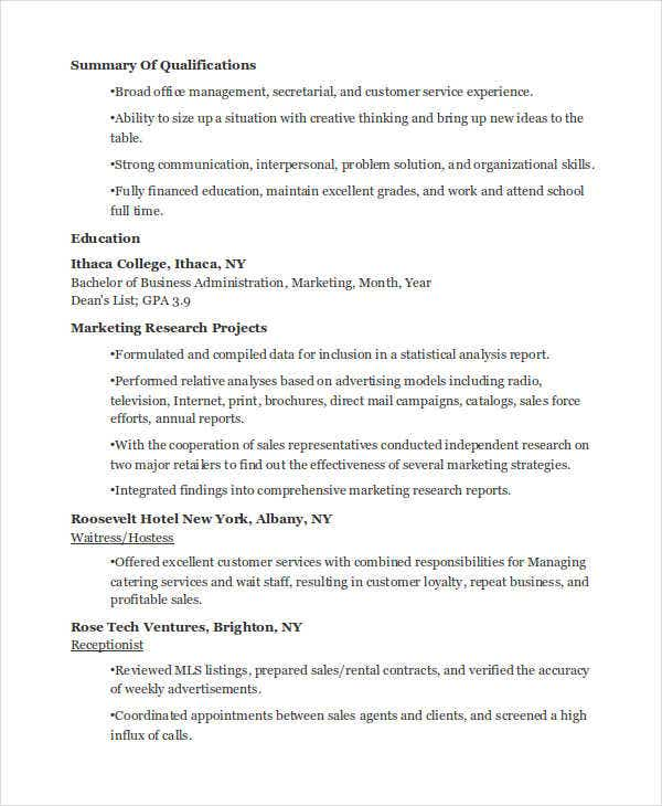 business marketing student resume2
