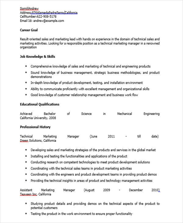 technical marketing manager resume
