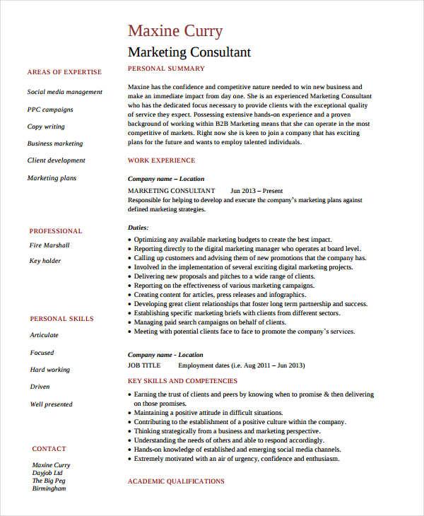 senior marketing consultant resume