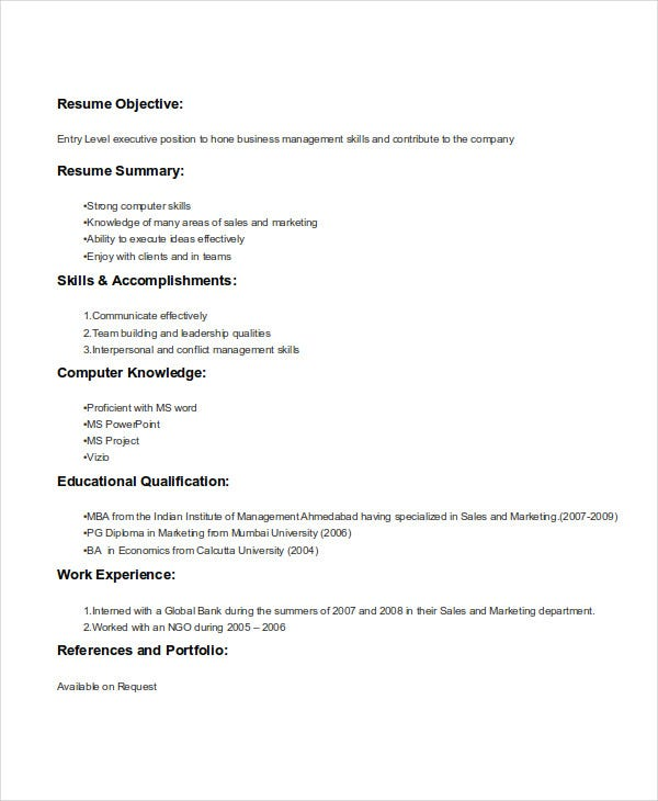 mba marketing students resume