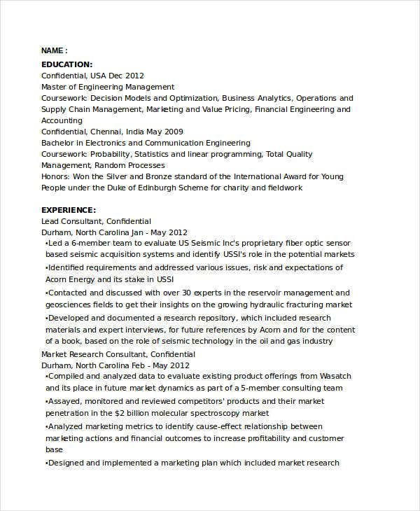 marketing resume examples