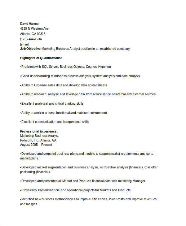 marketing business analyst resume2