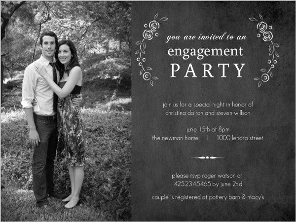 black and white engagement party invitation