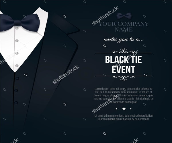 black and white gala party invitation