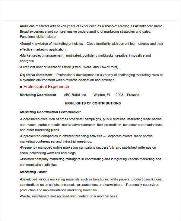 event marketing coordinator resume