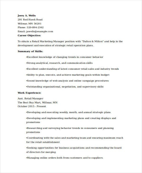 retail marketing experience resume1