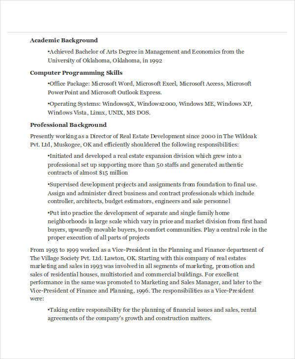 real estate marketing manager resume