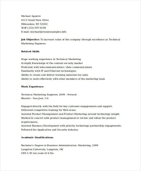 technical marketing engineer resume3