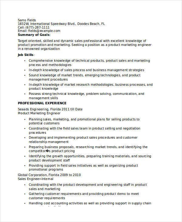 product marketing engineer resume - Product Marketing Engineer Sample Resume