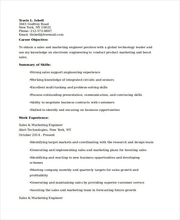 sales marketing engineer resume4