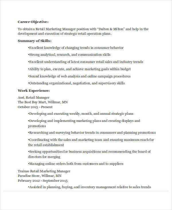 Captivating Assistant Retail Marketing Manager Resume Ideas Retail Marketing Resume