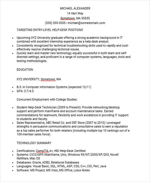 Entry Level IT Job Resume  Entry Level Help Desk Resume